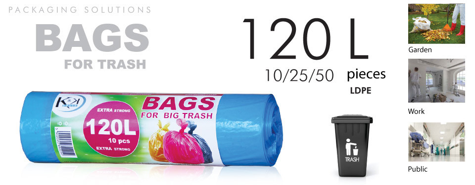 Bags for trash with a capacity of 120l