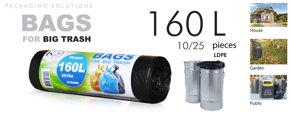 Bags for trash with a capacity of 160